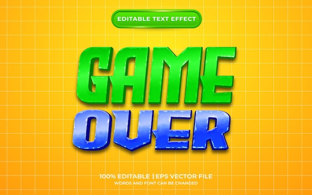 Game over text effect template style