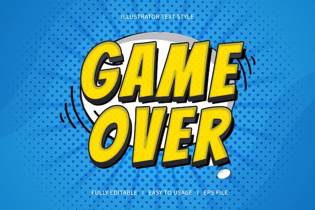 Game over, text style font effect  yellow gradation