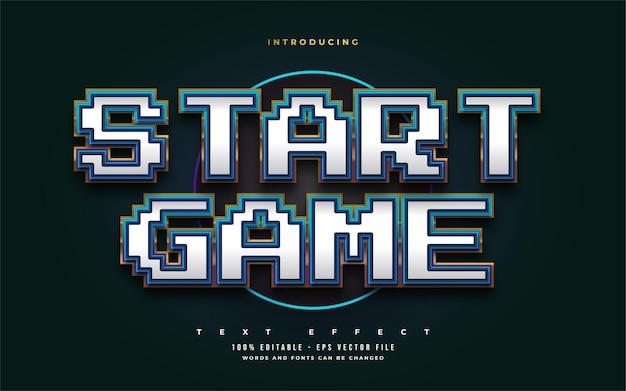 사실적인 양각 효과가있는 흰색, 파란색 및 금색의 게임 텍스트 스타일. 편집 가능한 텍스트 스타일 효과