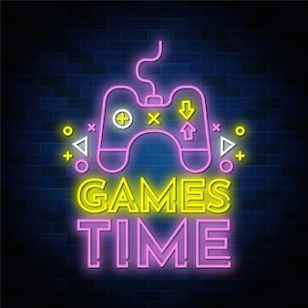 Стиль текста неоновых вывесок игрового времени с помощью джойстика