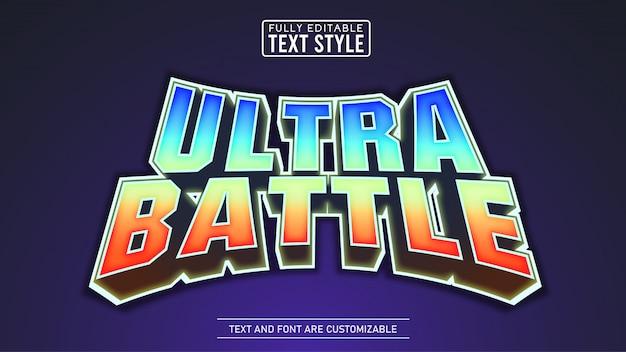 게임 제목 대 전투 편집 가능한 텍스트 효과 프리미엄 벡터