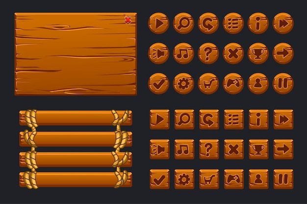 Большой комплект игрового интерфейса. шаблон деревянного меню графического пользовательского интерфейса