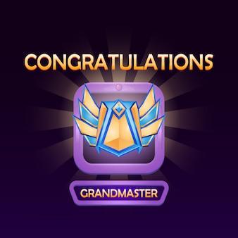 Элементы пользовательского интерфейса игры с меню медалей повышенного ранга всплывают на более высокий уровень