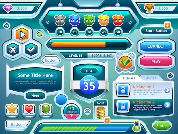 Game ui. examples of screens, buttons, bars progression for computer and mobile games.  .
