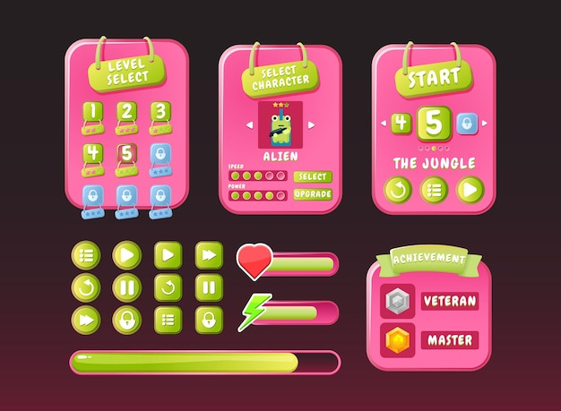Game ui funny nature pink casual kit menu pop up interface with icon and progress bar