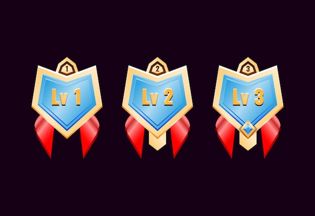Game ui glossy golden diamond rank badge medals with red ribbon