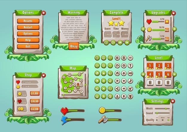 ゲームui。自然なスタイルで設定されたグラフィカルユーザーインターフェイス。ユニバーサル多目的モバイルゲームアプライアンス。 Premiumベクター