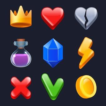 Комплект игрового интерфейса. умные звезды фиксируют золотые кнопки цветных предметов для веб-интерфейса стилизованные иконки