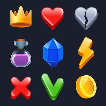 Game ui kit. clever stars lock gold buttons colored items for web interface  stylized icons