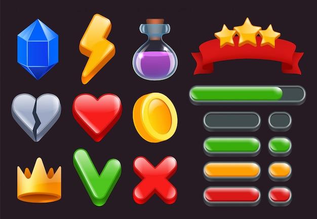 게임 ui 키트 아이콘. 온라인 웹 또는 스마트 폰 게임 인터페이스 용 별 리본 메뉴 및 상태 표시 줄 2d 기호