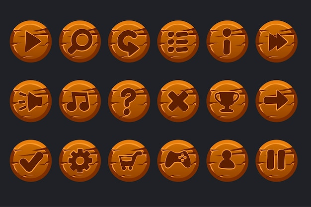 Game ui kit. set of cartoon wooden circles buttons for graphical user interface gui and games.