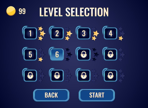 Game ui level selection interface for gui asset elements