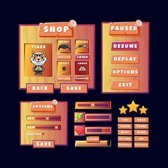 Game ui old wooden kit menu pop up with button and progress bar icon