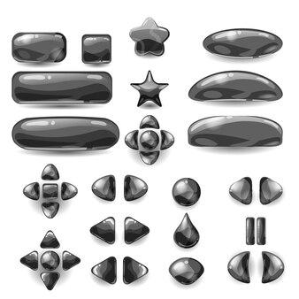 Набор игрового пользовательского интерфейса полное черное меню графического пользовательского интерфейса gui для создания 2d-игры