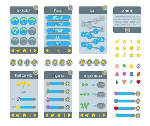 게임 ui 세트. 그래픽 사용자 인터페이스 gui의 전체 메뉴. 화면, 리소스 표시 줄, 게임 아이콘. 레벨 선택, 일시 중지,지도, 경고, 레벨 완료, 업그레이드, 인앱 구매.