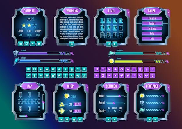 ゲームui。スペースグラフィカルユーザーインターフェイスセット。宇宙の夜空の色のモバイルゲームアプライアンス。未来的な宇宙のインフォグラフィック要素。