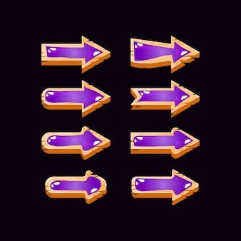 Коллекция деревянных желе стрелка пользовательского интерфейса игры