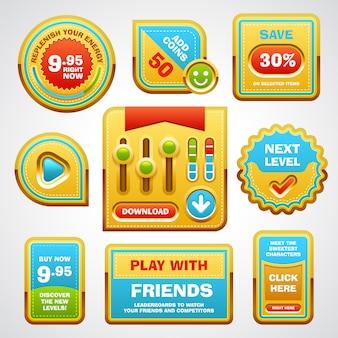 ゲームのユーザーインターフェイス要素のボタン、進行状況バー、アイコン、ゲームのフィールド