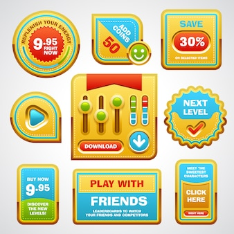 Game user interface elements buttons, progress bar, icons and fields for game