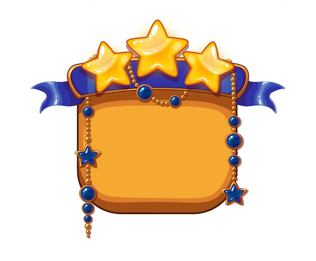 Game victory stars, cartoon assets. golden stars with blue ribbon and gemstones
