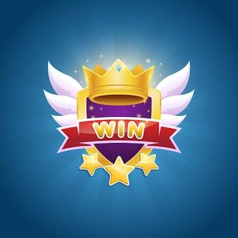 Дизайн значка победителя игры с блестящей короной и звездной наградой