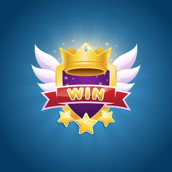 Game winner badge design with shiny crown and star award