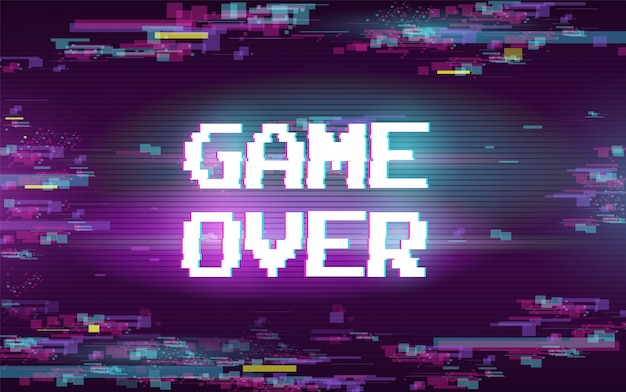 Game over with glitch effect