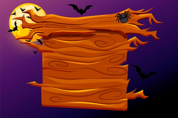 Game wooden banner with halloween decoration