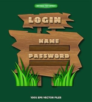 Игра деревянное меню free vector (редактируемый текстовый эффект)