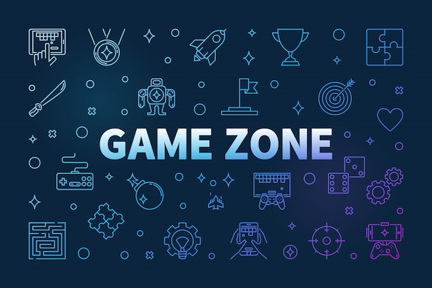 Game zone  colored outline icons