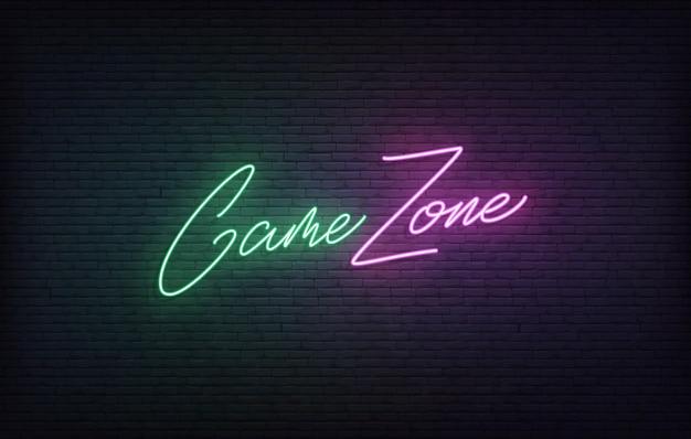 Игровая зона неоновая вывеска. светящиеся игровые надписи концепция