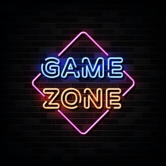 Неоновые вывески game zone. шаблон оформления в неоновом стиле