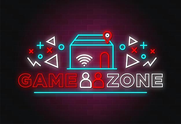 Стиль текста неоновых вывесок игровой зоны