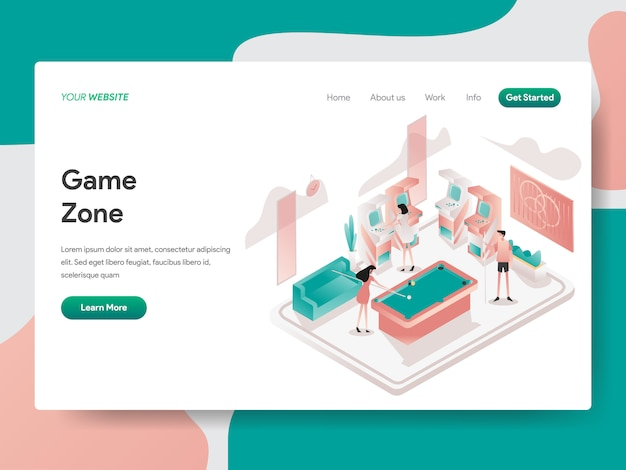 Game zone room isometric illustration. landing page
