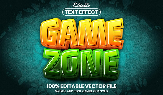 Game zone text, font style editable text effect