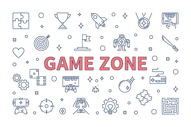 Game zone vector concept illustration in thin line style