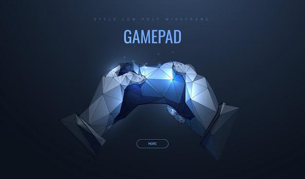 Геймпад в полигональном стиле. концепция компьютерных игр.