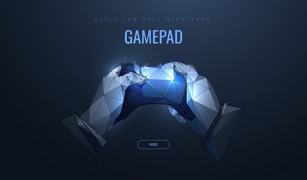 Gamepad in polygonal style. concept of computer games.