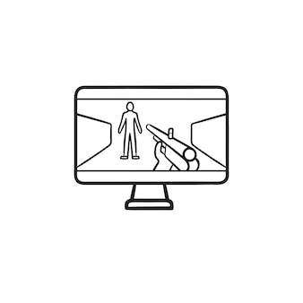 Gamer aiming at human target with gun on computer hand drawn outline doodle icon. first person shooter concept