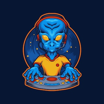 Gamer alien illustration