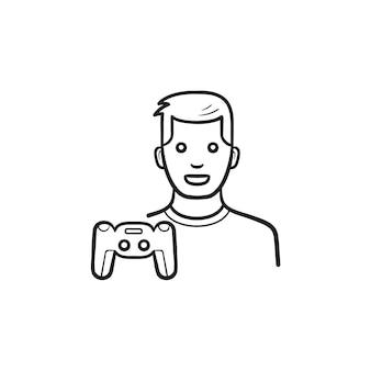 ゲーマーとゲームパッドの手描きのアウトライン落書きアイコン。ゲーム機、ビデオゲームのジョイスティックの概念