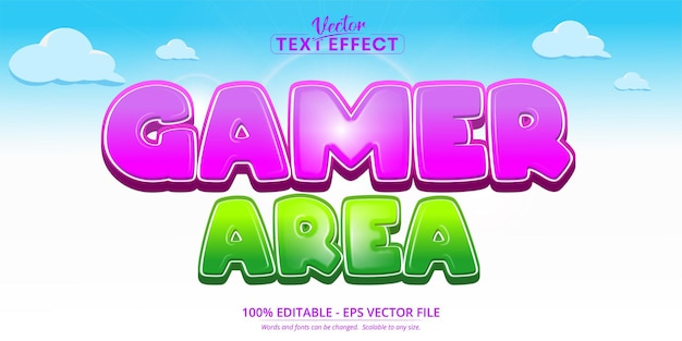 Gamer area text, mobile game and cartoon style editable text effect