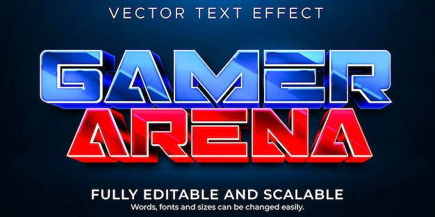 Gamer arena text effect, editable game and sport text style