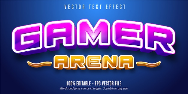 Gamer arena text, game style editable text effect