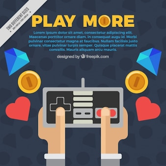 Gamer background in flat design with elements