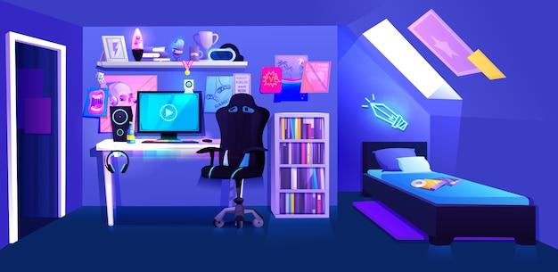 Комната для мальчика gamer на чердаке интерьера banne