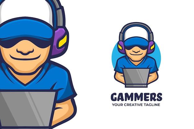 Gamer boy mascot logo character