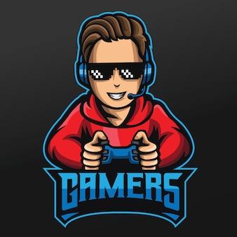 Дизайн спортивной иллюстрации талисмана gamer boy для логотипа команды esport gaming