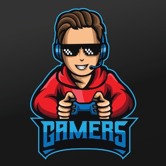 Gamer boy mascot sport illustration design for logo esport gaming team squad
