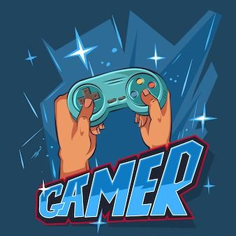 青色の背景に手でジョイスティックのゲーマー漫画イラスト。ビデオゲームコンソールのコントローラーで遊ぶキャラクターデザイン。